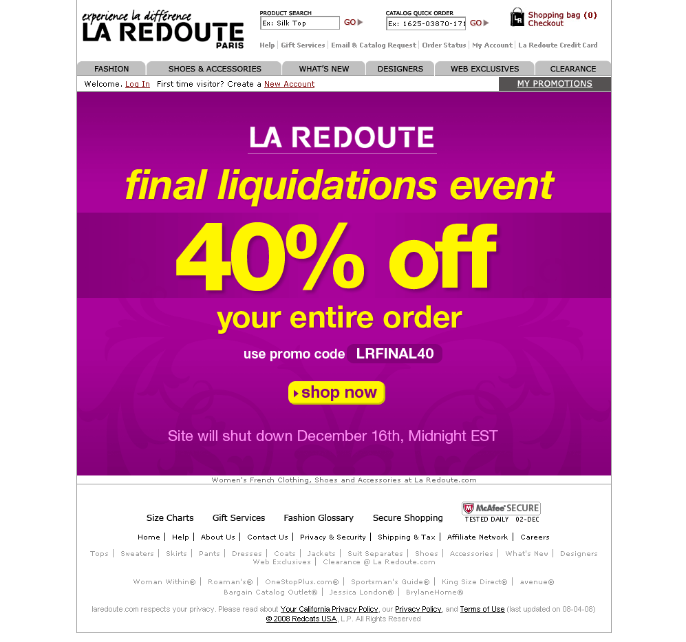 LA REDOUTE website closing - Timely Demise